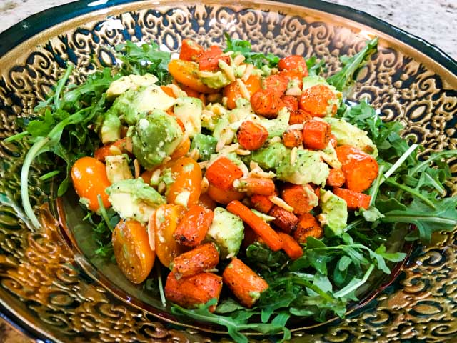 Spice Roasted Carrot and Avocado Salad