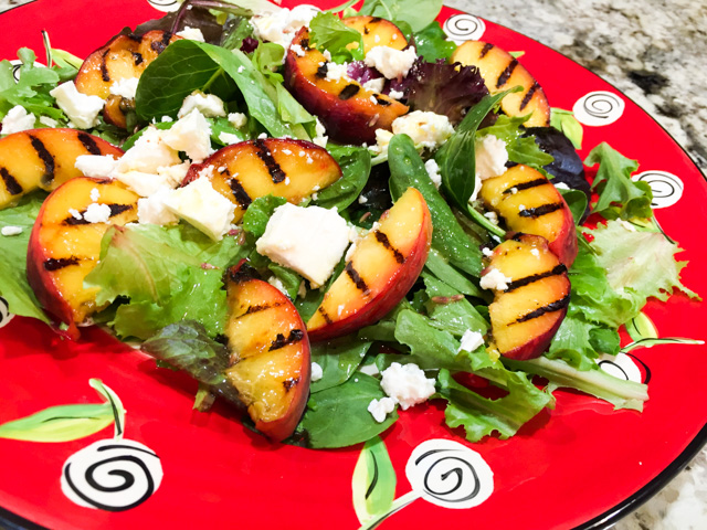 Grilled Peach Salad with Lavender Dressing