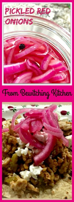 Pickled Red Onions, from Bewitching Kitchen