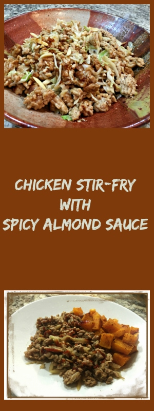 Chicken Stir-fry with Spicy Almond Sauce, from Bewitching Kitchen