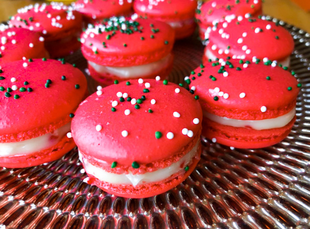remember my peppermint candy cookies so very festive these macarons dance to the same beat a bright red color the delicate